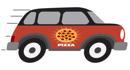 A cartoon pizza delivery vehicle is speeding towards it's destination