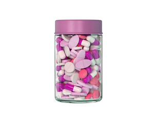 Fuchsia pills in the container isolated on a white background, 3D rendering.