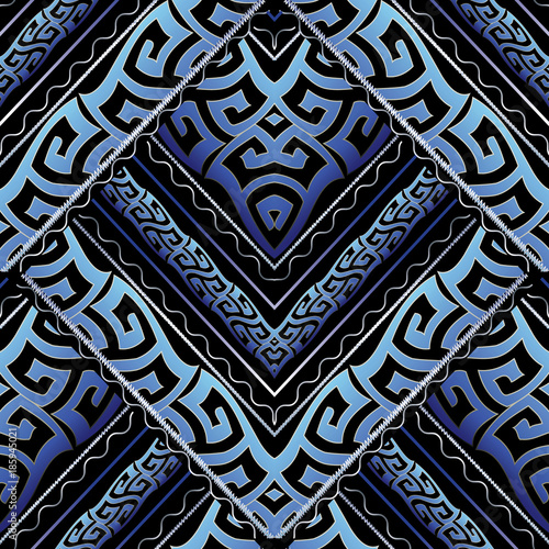 Ancient Greek Meanders Seamless Pattern Vector Abstract Background Modern 3d Wallpaper Geometric Shapes