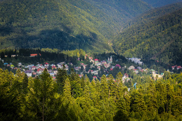 Wide angle view of the Sinaia village in the Transylvanian countryside, Romania