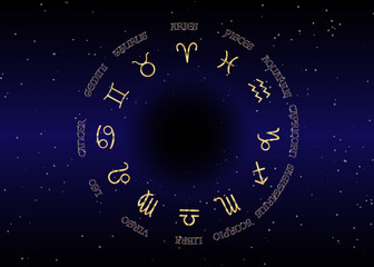 astrology and horoscope - gold signs of zodiac over night sky and stars dark night sky background, vector illustration