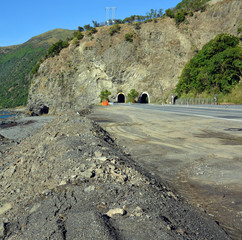 Massive Slip is Cleared from the Raramai Road Tunnels Kaikoura.