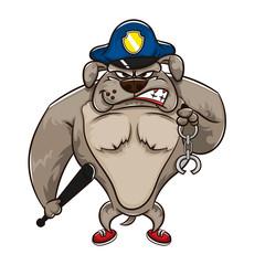 police dog catching a criminals cartoon vector