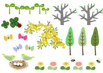 春のイラスト素材。春のイメージ素材。カレンダーのクリップアート。
