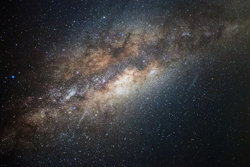 Close-up of Milky Way, Long exposure photograph with Bright Stars and space dust