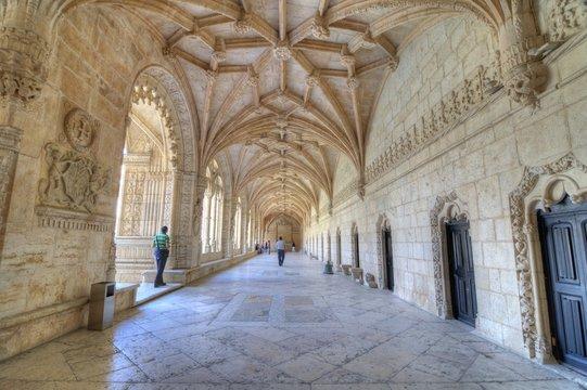 Visitors at  the Hieronymites Monastery, Lisbon, Portugal.