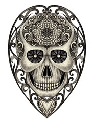 Art Vintage Heart mix Skull. Hand pencil drawing on paper.