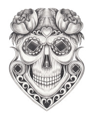 Art  Vintage and gems mix Skull. Hand drawing on paper.
