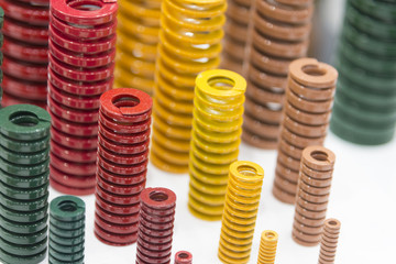 The various size industrial coil spring on the floor .The  coil spring for industrial purpose