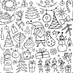 Christmas set, seamless pettern for your design
