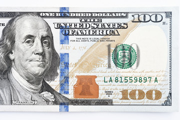 close up of banknote isolated on white background
