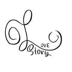 Love story. Handdrawn calligraphy for Valentine day. Ink illustration. Modern dry brush lettering. Vector illustration