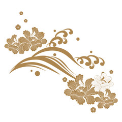 Japanese wave and flower vector. Gold nature icons.
