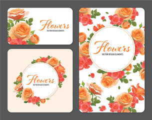 Rose flowers in orange color and begonia flower on white background template. Vector set of blooming floral for wedding invitations and greeting card design.