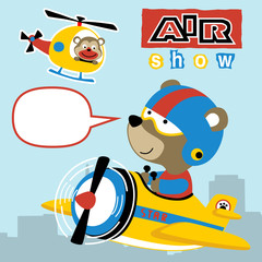 air transport cartoon with cute pilot