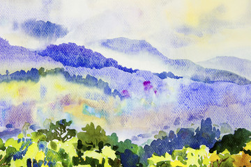 Watercolor painting landscape colorful of fog mountain trees.
