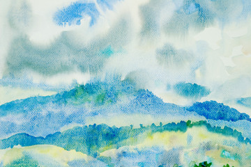 Watercolor painting original landscape colorful of mountain.