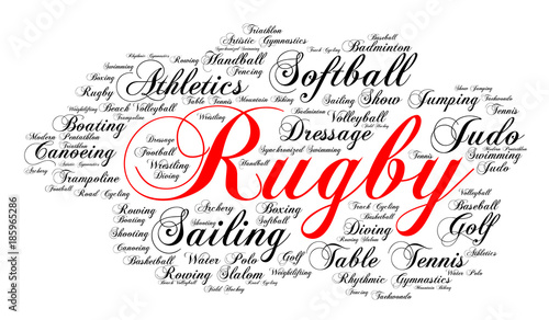 Word Cloud Elegant Cursive Font White Background Summer Sports