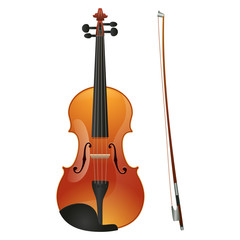 Violin isolated on white background. Vector illustration