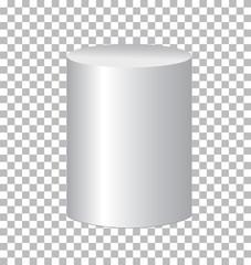 white cylinder isolated on transparent background. cylinder sign.