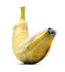 Isolated Banana With Condom