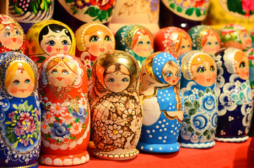 BUDAPEST, HUNGARY - DECEMBER 21, 2017: Matryoshka Nesting Dolls: Meaning of Wooden Stacking Doll