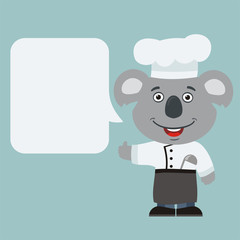 Chef koala with speech bubble in cartoon style. Smiling koala cook says and shows like.