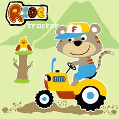 cute animals cartoon on tractor