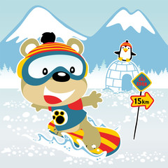 playing snow board with cute animals cartoon