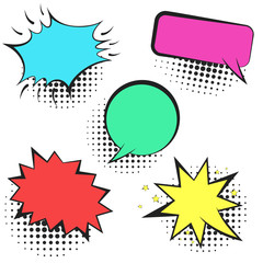 Set of colorful empty retro comic speech bubbles with black halftone shadow in pop art style. Black outline balloons for message, comics book or advertising text, web design, greeting cards