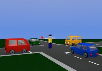 Verkehrsregelung durch einen Polizisten: Stopp mit Kreuzung und bunten Autos.