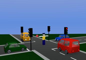 Verkehrsregelung durch einen Polizisten mit gleichfarbiger Ampel: Stopp mit Kreuzung und bunten Autos.