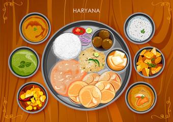 Traditional Haryanavi cuisine and food meal thali of Haryana India