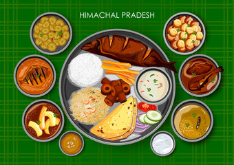 Traditional Himachali cuisine and food meal thali of Himachal Pradesh India