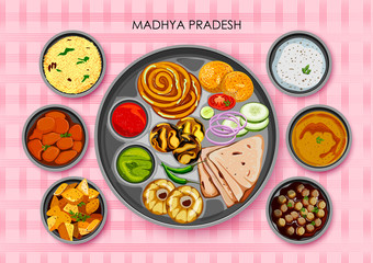 Traditional cuisine and food meal thali of Madhya Pradesh India