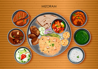 Traditional Mizorami cuisine and food meal thali of Mizoram India