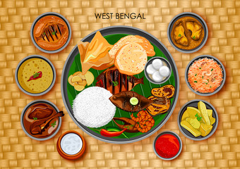 Traditional Bengali cuisine and food meal thali of West Bengal India