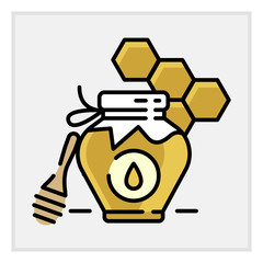 Honey bottle category icon, vector line flat illustration for shop and symbol of manufacturing of honey . Traditional Russian sweets and Candy.