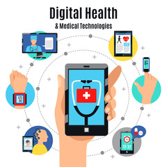 Digital Health Technologies Flat Composition