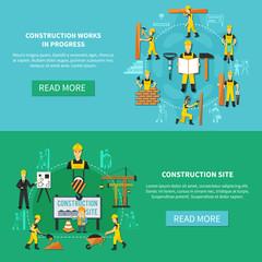 Construction Worker Flat Banner Set