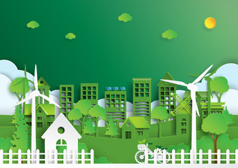 Nature landscape background paper art style.Green eco friendly city and renewable energy of environment conservation concept.Vector illustration.
