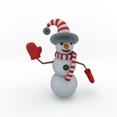 Snowman. Isolated on white background. 3D rendering illustration.