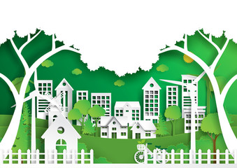 Nature landscape background paper art style.Green eco city of environment conservation concept.Vector illustration.