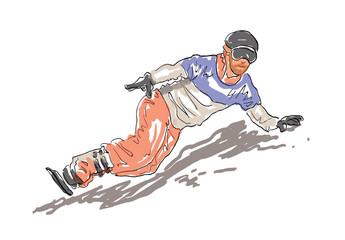 Print     Sketched Snowboarding Man