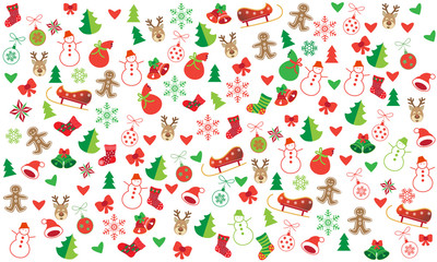 Vector Xmas seamless doodle pattern with colorful christmas symbols and icons for Happy New Year Winter Holiday graphic design.