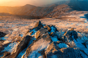 Sunrise on Deogyusan mountains covered with snow in winter,South Korea.