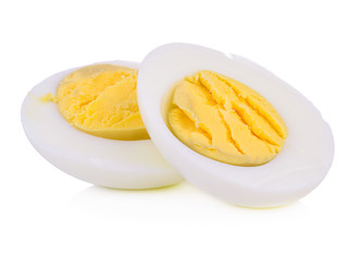 two halves of a boiled egg on white background