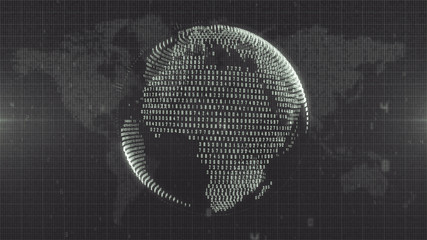 Monochrome digital planet Earth on number map background