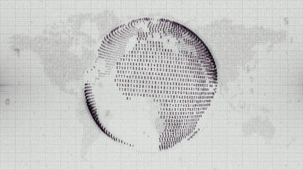 Negative image of digital Earth planet on map background