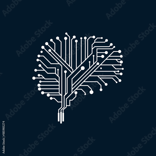 Electric Brain Circuit Board Technology Designs vector, Brain Dot ...